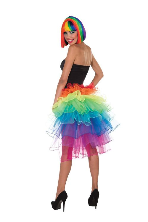 Rainbow Bustle Carnival Skirt Circus Parade Clown Fancy Dress Outfit